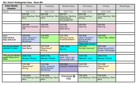 Weekly / Daily Schedule 2018-19